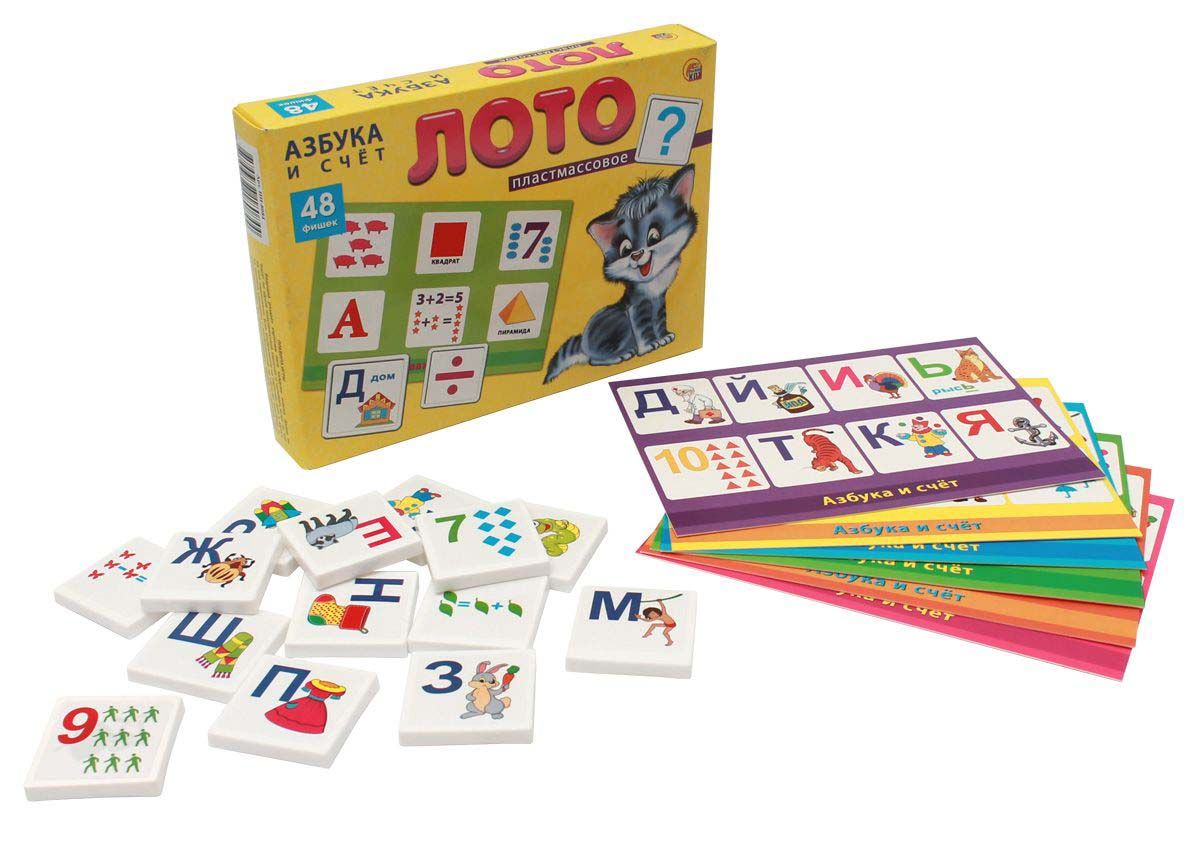 Купить Игра настольная. Лото пластиковое, 48 фишек - Азбука и Счет, Рыжий Кот