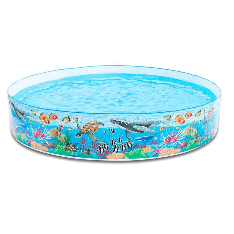 Бассейн каркасный круглый, дизайн ОкеанДетские надувные бассейны<br>Бассейн каркасный круглый, дизайн Океан<br>
