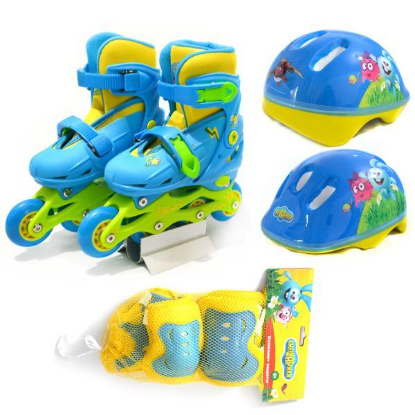 Набор Смешарики - Ролики раздвижные 2 в 1 размер 28-31, комплект защиты, шлем, желто-голубой