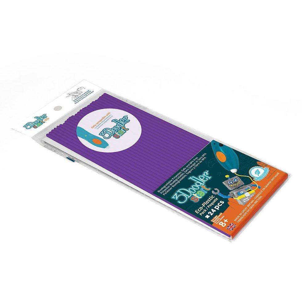 Купить Эко-пластик к 3Д ручке 3Doodler Start, цвет фиолетовый, 24 штуки, Wobble Works