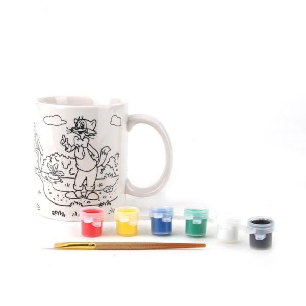 Набор для раскрашивания керамической кружки с рисунком кота ЛеопольдаРоспись по керамике и камню<br>Набор для раскрашивания керамической кружки с рисунком кота Леопольда<br>
