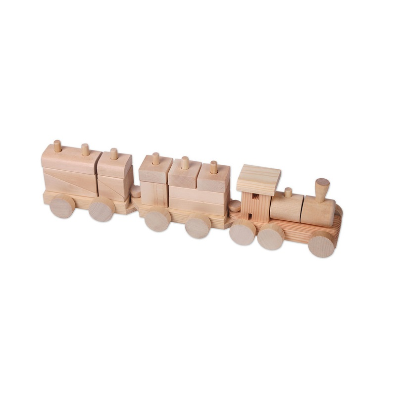 Деревянный конструктор-паровозик, неокрашенный, в пакете, Paremo  - купить со скидкой