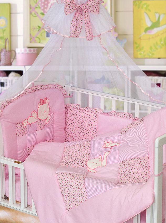 Комплект - Кошки-мышки, розовыйДетское постельное белье<br>Комплект - Кошки-мышки, розовый<br>