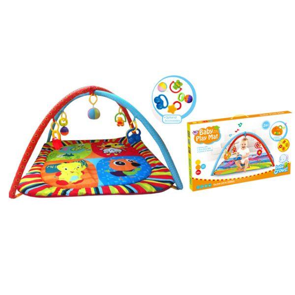 Детский игровой коврик Baby Play Mat с погремушками на подвескеДетские развивающие коврики для новорожденных<br>Детский игровой коврик Baby Play Mat с погремушками на подвеске<br>