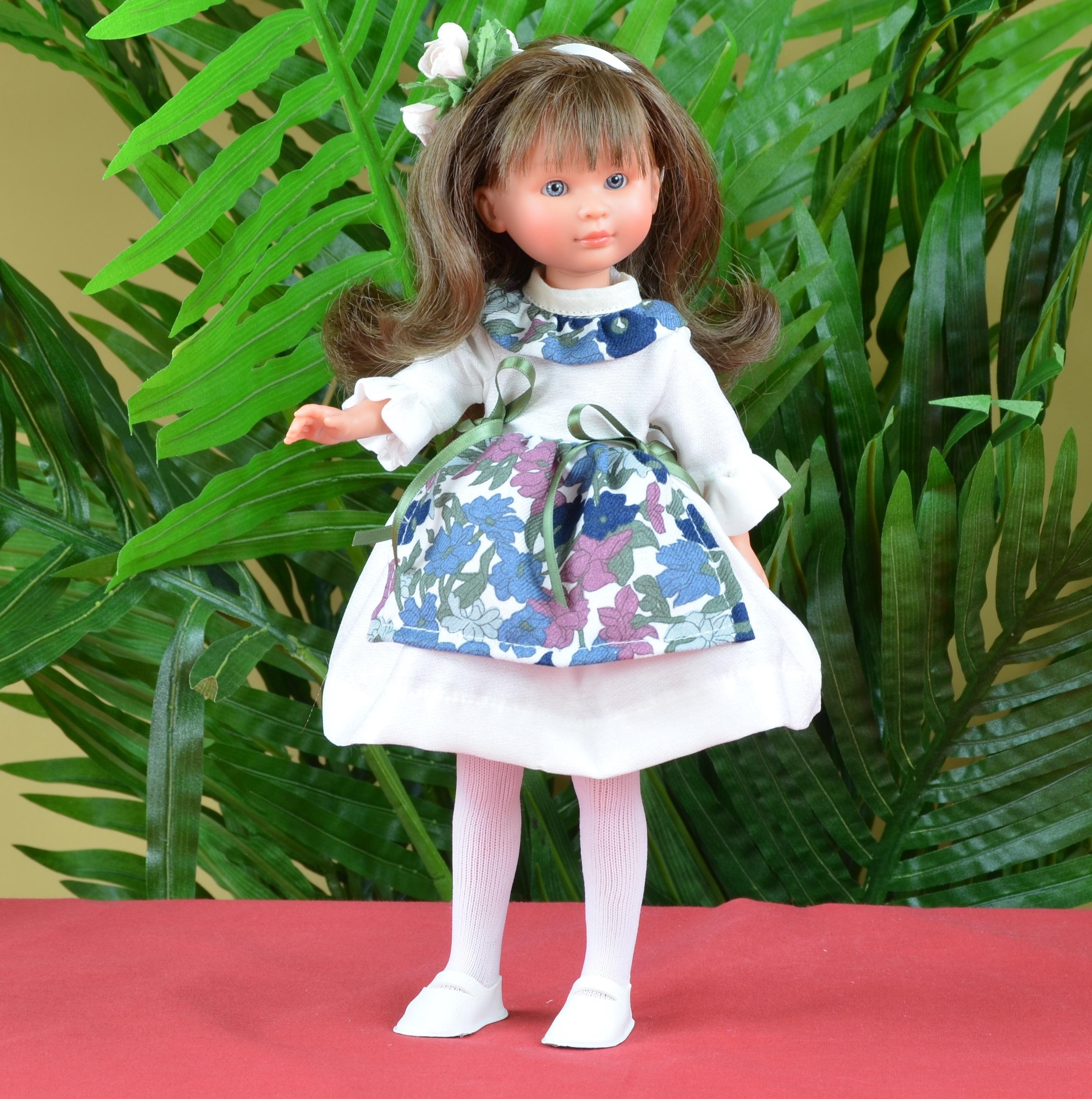 Кукла Селия в платье с цветным фартуком, 30 см.Куклы ASI (Испания)<br>Кукла Селия в платье с цветным фартуком, 30 см.<br>