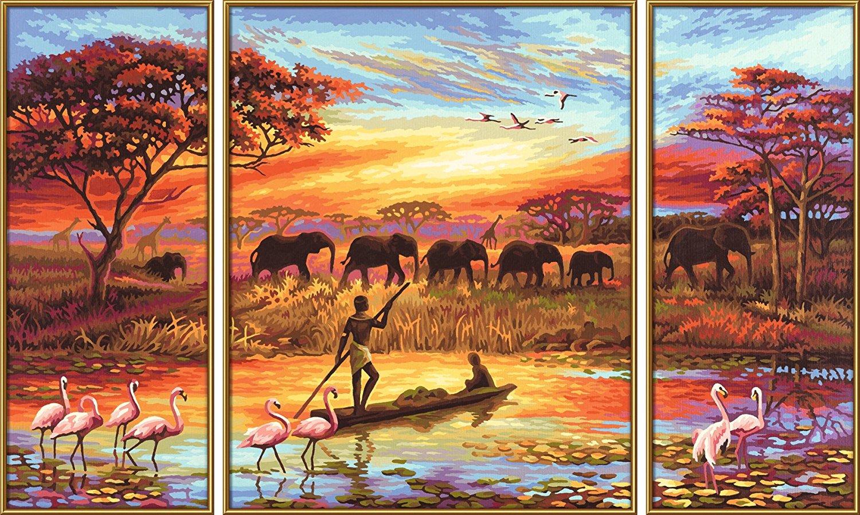 Триптих. Раскраска по номерам - Африка. Магический континент, 50 х 80 смРаскраски по номерам Schipper<br>Триптих. Раскраска по номерам - Африка. Магический континент, 50 х 80 см<br>