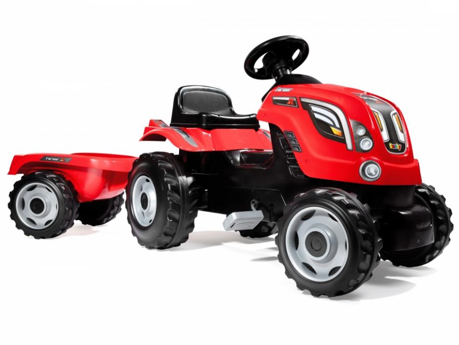 Трактор педальный XL с прицепом, красныйПедальные машины и трактора<br>Трактор педальный XL с прицепом, красный<br>
