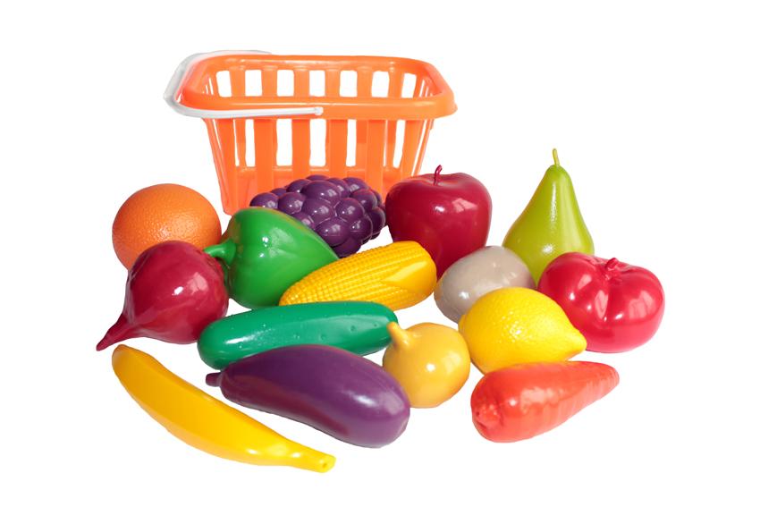 Игровой набор - Фрукты и овощи, в корзинеАксессуары и техника для детской кухни<br>Игровой набор - Фрукты и овощи, в корзине<br>