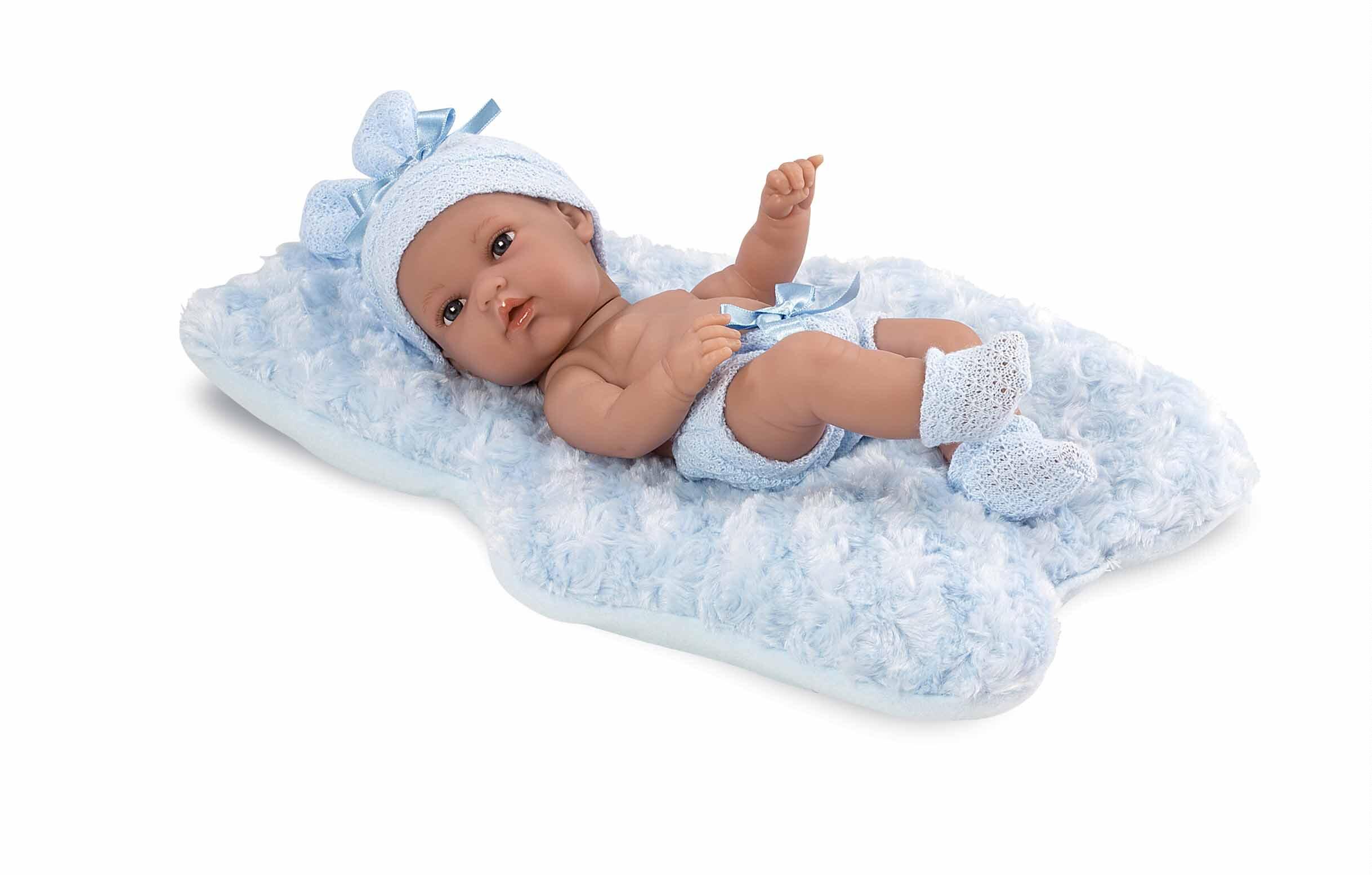 Кукла виниловая Elegance, 33 см с голубой подстилкой фото