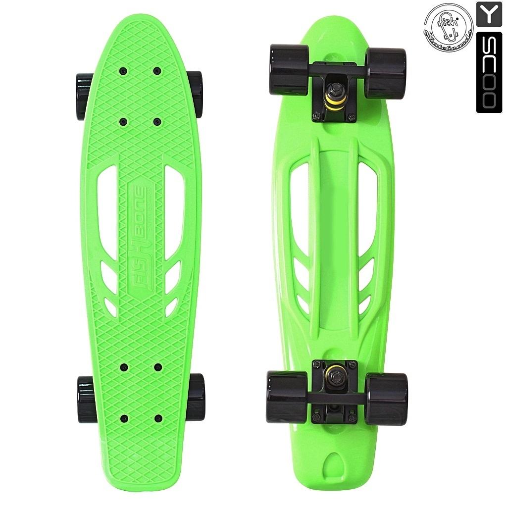 Скейтборд виниловый Y-Scoo Skateboard Fishbone 405-G с ручкой и сумкой, зеленыйДетские скейтборды<br>Скейтборд виниловый Y-Scoo Skateboard Fishbone 405-G с ручкой и сумкой, зеленый<br>