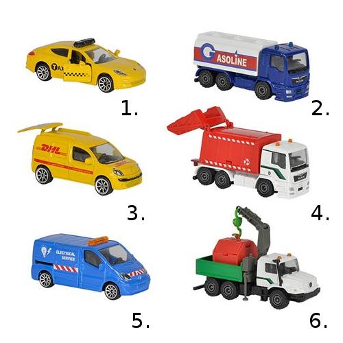 Машинки из серии Городская техника, 7,5 см, 6 видов