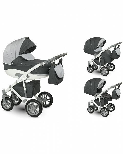 Детская коляска Camarelo Sirion 2 в 1, темно-серая с ромбами