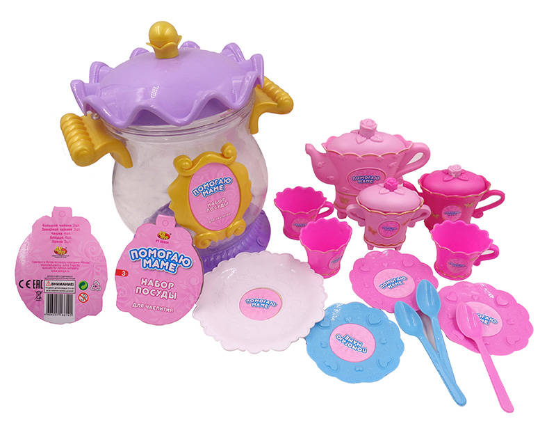 Набор посуды для чаепития из серии Помогаю Маме, 13 предметовАксессуары и техника для детской кухни<br>Набор посуды для чаепития из серии Помогаю Маме, 13 предметов<br>