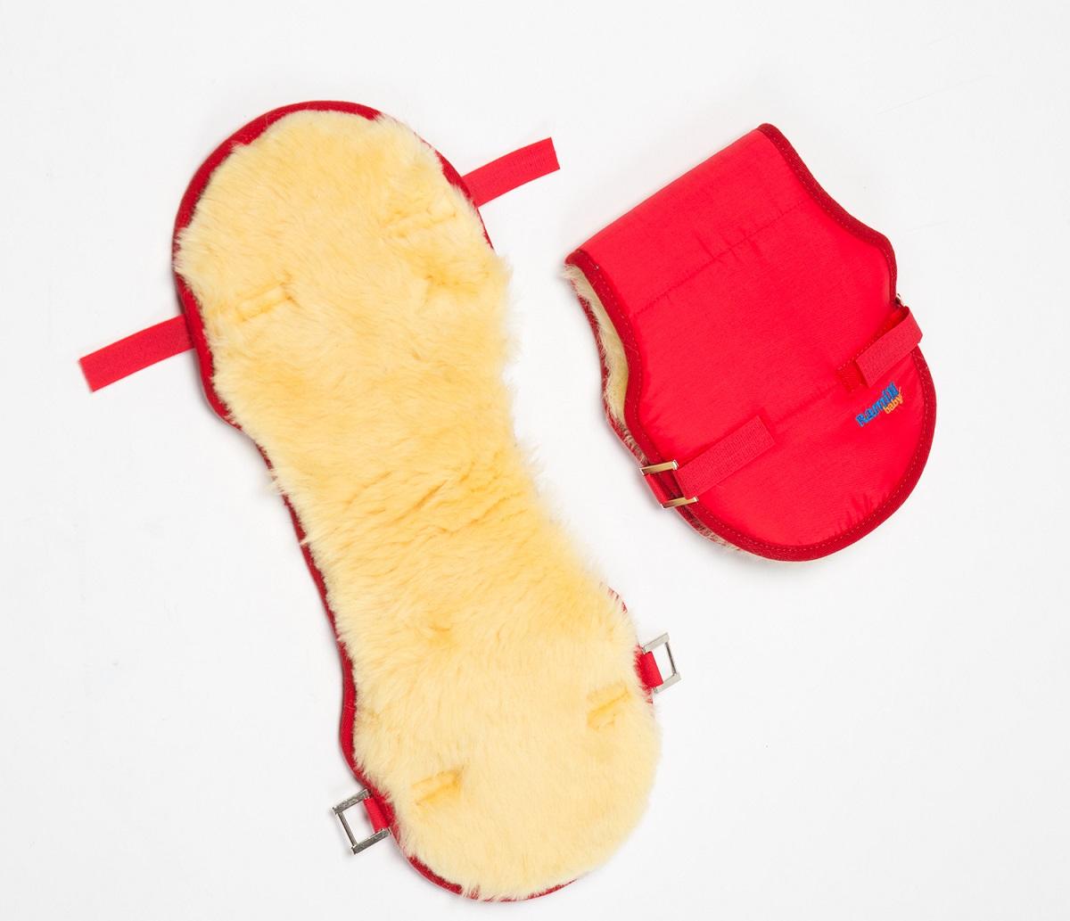 Меховая муфта для рук на коляску Ramili Mite Rosso, красная  - купить со скидкой