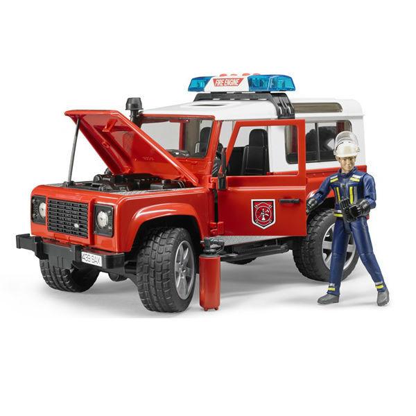Внедорожник Bruder Land Rover Defender Station Wagon - Пожарная с фигуркойПожарная техника<br>Внедорожник Bruder Land Rover Defender Station Wagon - Пожарная с фигуркой<br>