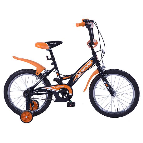 Купить Велосипед детский – Mustang Extreme, черно-оранжевый со страховочными колесами
