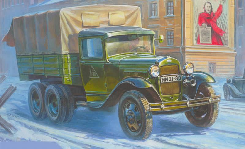 Модель для склеивания - Советский трёхосный армейский грузовик ГАЗ-АААМодели автомобилей для склеивания<br>Модель для склеивания - Советский трёхосный армейский грузовик ГАЗ-ААА<br>