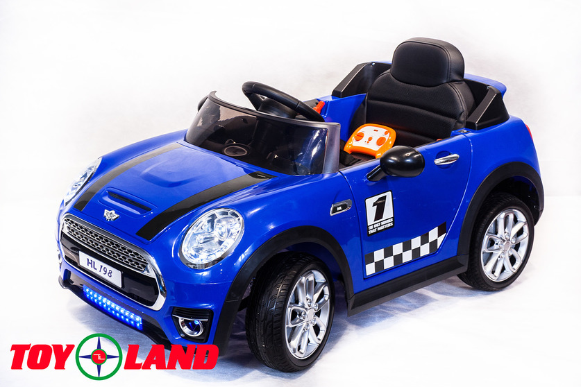 Электромобиль Mini Cooper синийЭлектромобили, детские машины на аккумуляторе<br>Электромобиль Mini Cooper синий<br>
