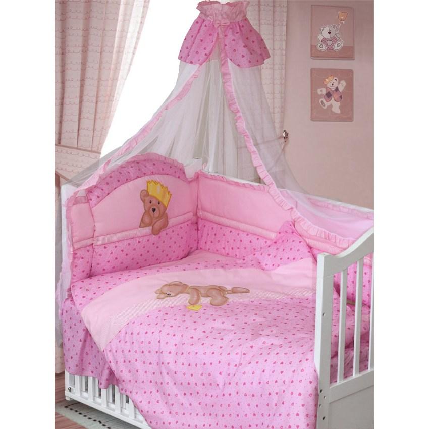 Комплект в кроватку – Мишка-Царь, 8 предметов, розовыйДетское постельное белье<br>Комплект в кроватку – Мишка-Царь, 8 предметов, розовый<br>