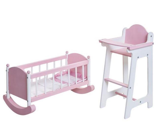 Набор кукольной мебели: стул и люлька, цвет – розовыйДетские кроватки для кукол<br>Набор кукольной мебели: стул и люлька, цвет – розовый<br>