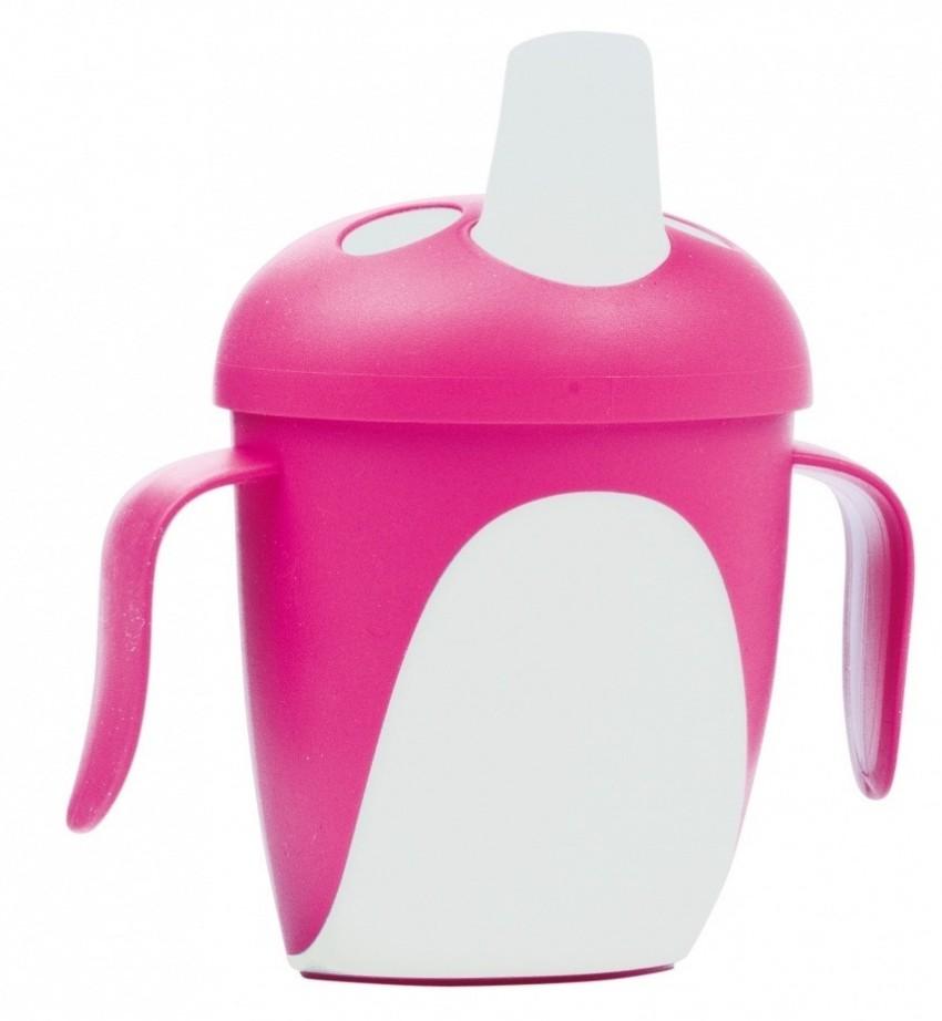Чашка-непроливайка - Penguins, 240 мл, 9+, розовый
