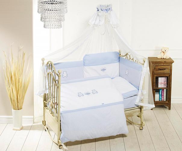Комплект постельного белья Orsetti лонг, 6 предметов, бело-голубойДетское постельное белье<br>Комплект постельного белья Orsetti лонг, 6 предметов, бело-голубой<br>