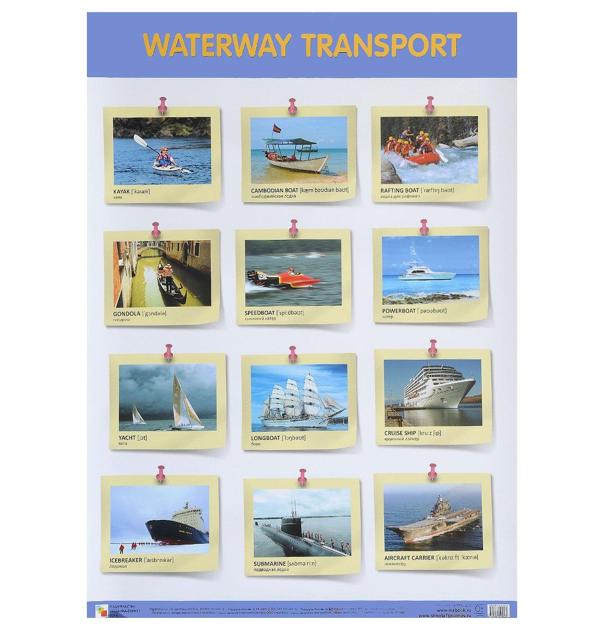 Купить Плакат на английском языке - Waterway Transport Водный транспорт, Мозаика-Синтез