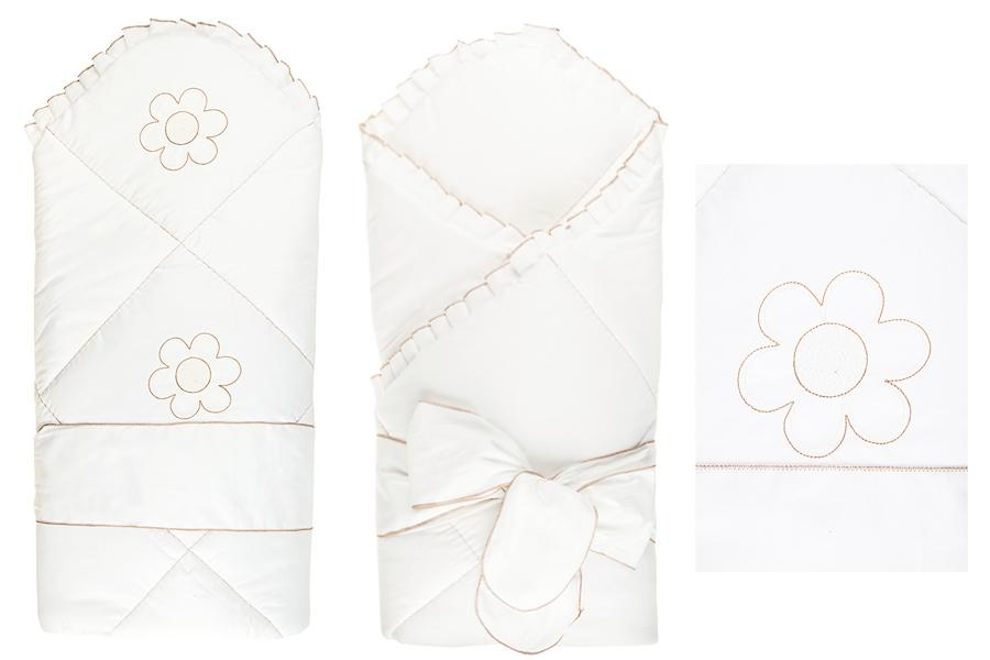 Конверт - одеяло на выписку из серии Ромашки, сезон весна, цвет белыйКомплекты на выписку<br>Конверт - одеяло на выписку из серии Ромашки, сезон весна, цвет белый<br>