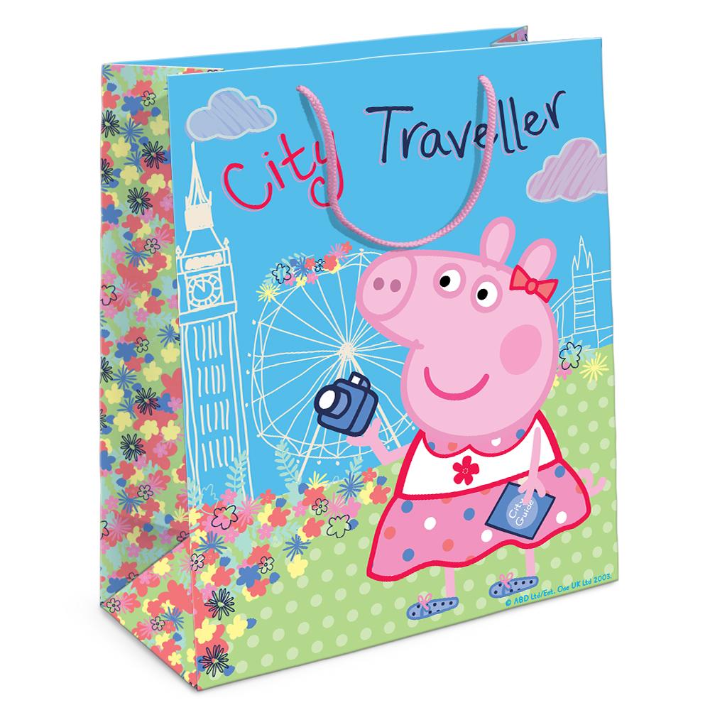 Купить Пакет подарочный – Свинка Пеппа на каникулах, 23 х 18 х 10 см., Росмэн
