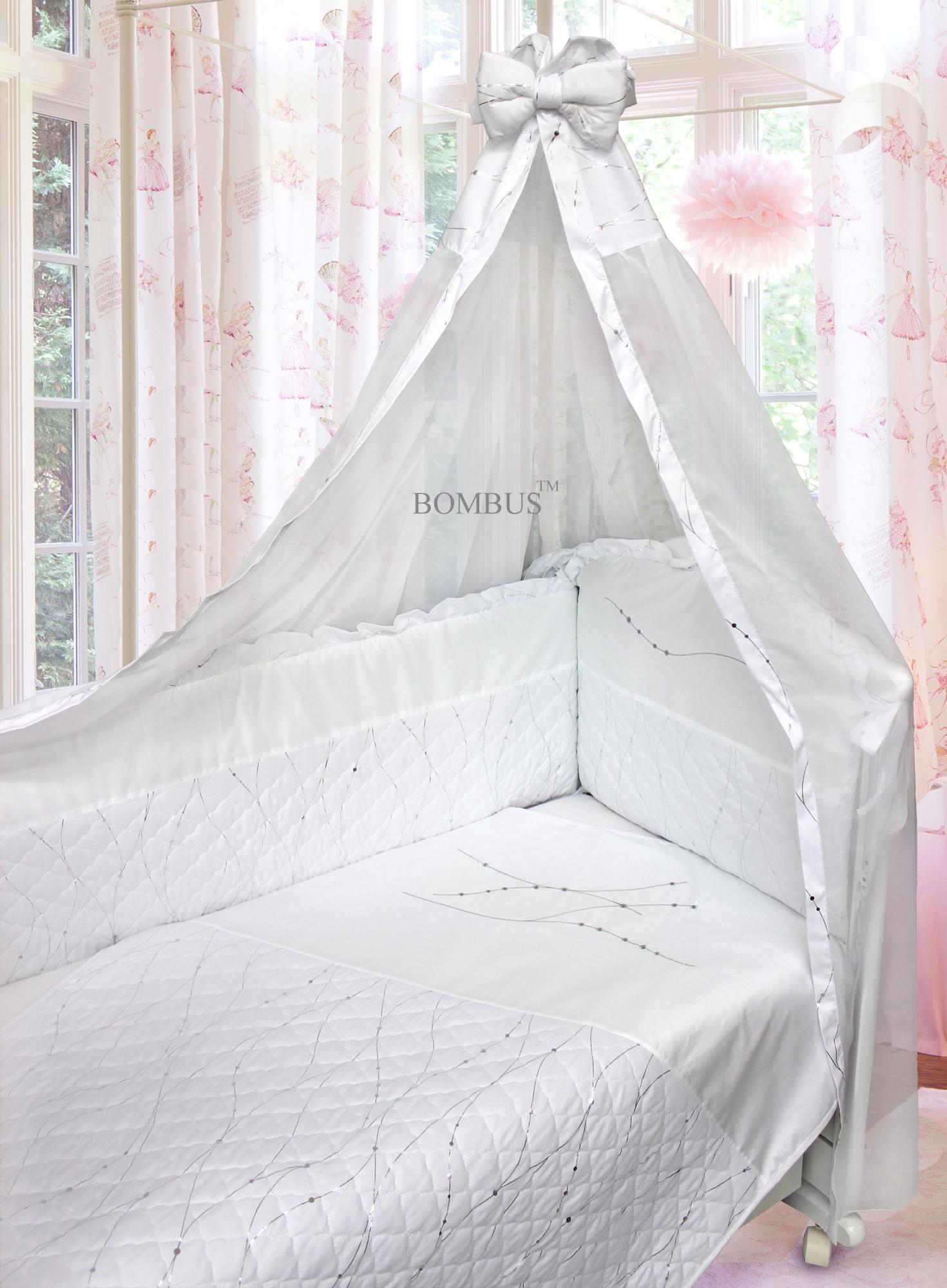 Комплект в кроватку – Серебряные сны, 6 предметов, белыйДетское постельное белье<br>Комплект в кроватку – Серебряные сны, 6 предметов, белый<br>