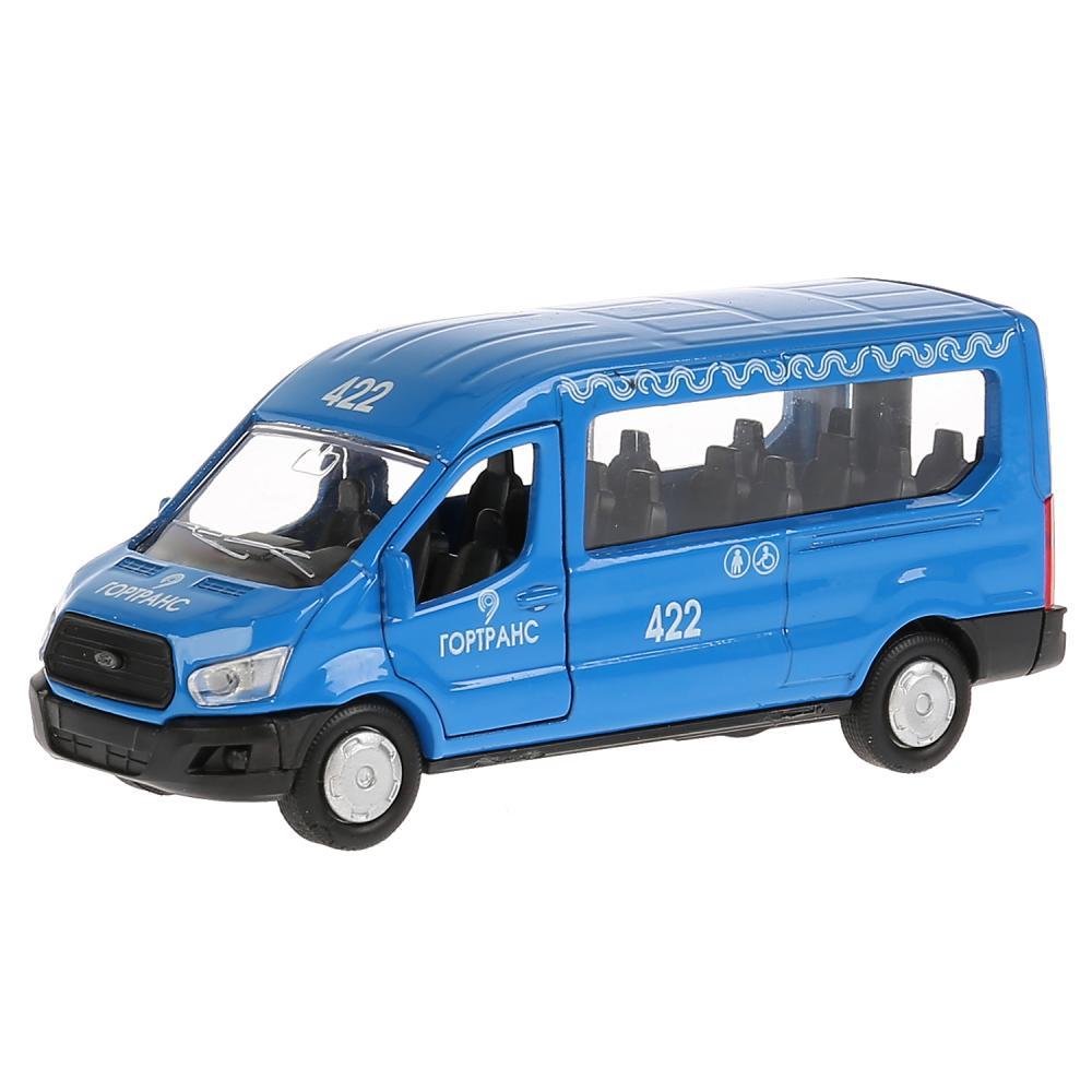 Купить Машина металлическая Ford Transit синий, длина 12 см, открываются двери, инерционная, Технопарк
