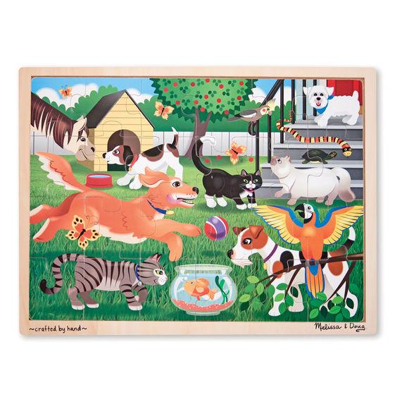 Купить Набор из серии Мои первые пазлы - Животные во дворе, 24 детали, Melissa&Doug