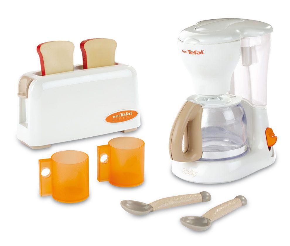 Игровой набор: тостер и кофеварка TefalАксессуары и техника для детской кухни<br>В наборе: кофеварка Tefal, тостер Tefal с двумя тостами, 2 чайные ложечки, 2 кружки...<br>