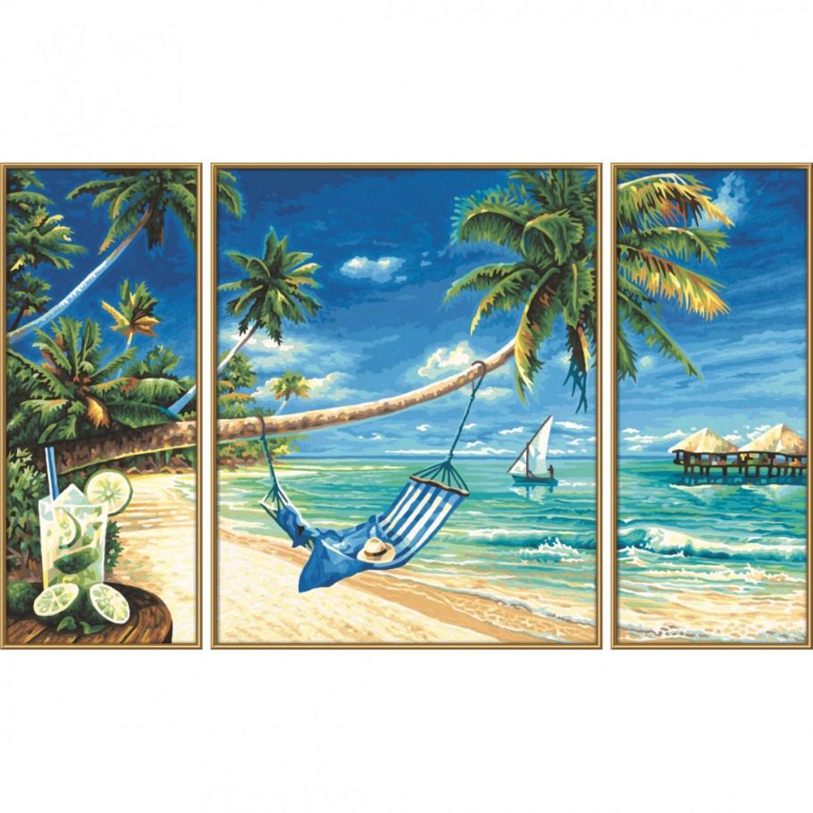 Купить Раскраска по номерам Триптих Южное море, 50х80 см., Schipper