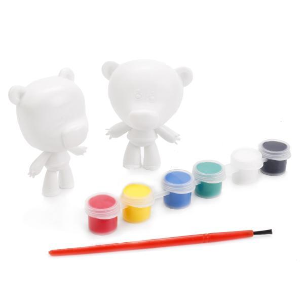 Набор-раскраска - 2 фигурки Мимимишки, кисточка, краскиРоспись по пластику<br>Набор-раскраска - 2 фигурки Мимимишки, кисточка, краски<br>