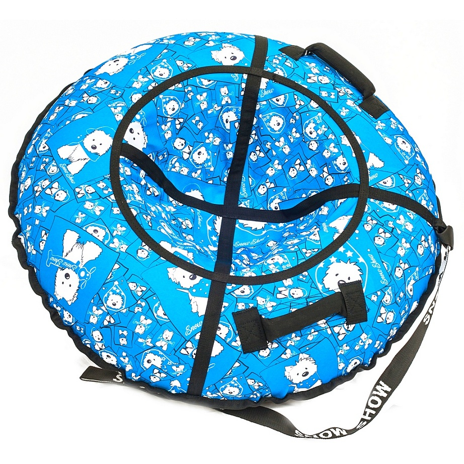 Санки надувные Тюбинг - Собачки на голубом, диаметр 105 смВатрушки и ледянки<br>Санки надувные Тюбинг - Собачки на голубом, диаметр 105 см<br>