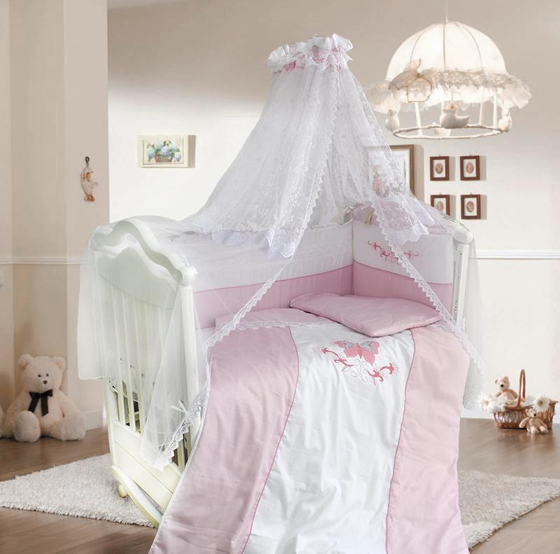 Комплект в кроватку – Абэль, сатин, 7 предметов, розовыйДетское постельное белье<br>Комплект в кроватку – Абэль, сатин, 7 предметов, розовый<br>
