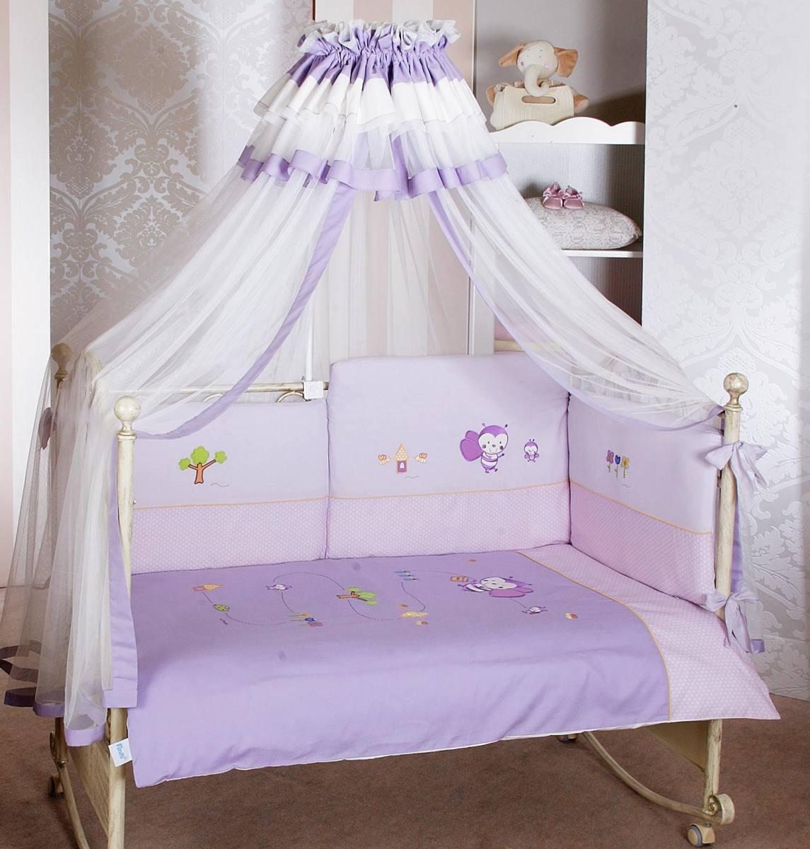 Комплект постельного белья Bee лонг, 6 предметов, фиолетовыйДетское постельное белье<br>Комплект постельного белья Bee лонг, 6 предметов, фиолетовый<br>