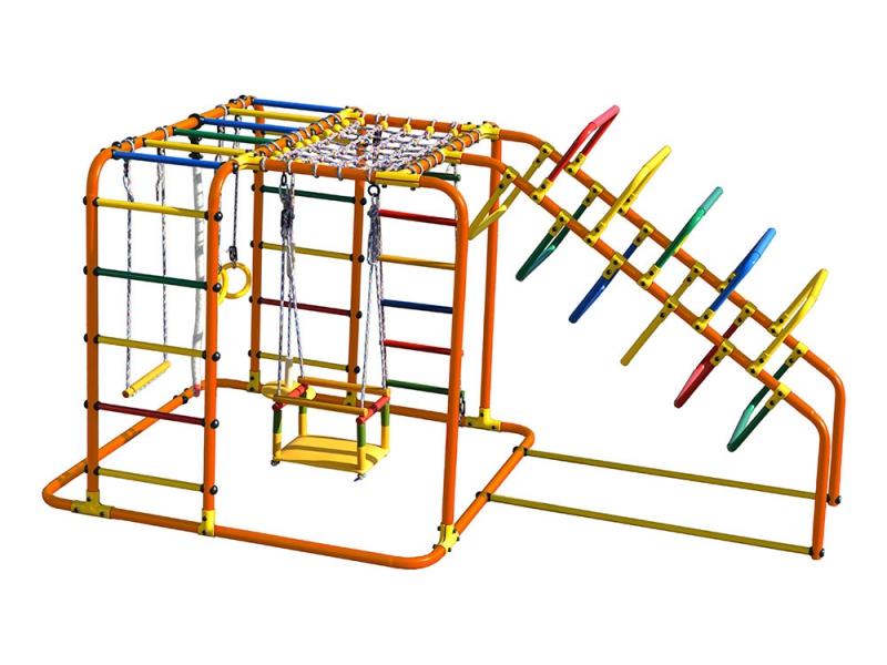 Купить Детский спортивный комплекс Счастливчик Х Плюс, цвет - оранжевый/радуга, Формула здоровья