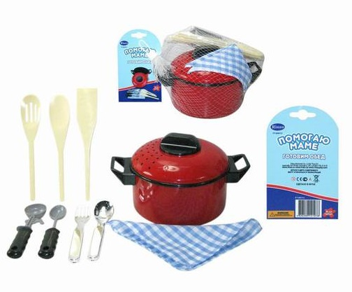 Игровой набор посуды для кухни, 10 предметовАксессуары и техника для детской кухни<br>Игровой набор посуды для кухни, 10 предметов<br>