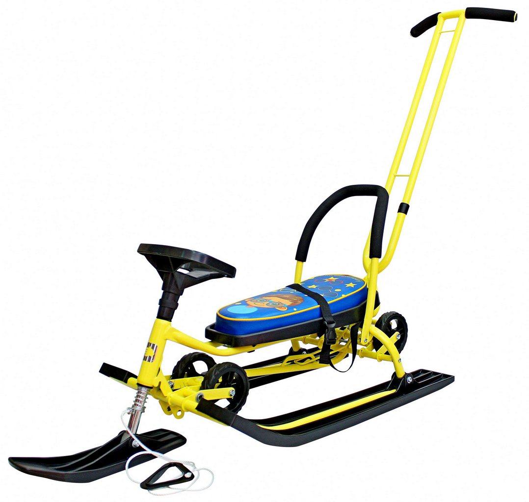 Снегокат ™Барс - 111 Mobile с Т-образным толкателем и колесной базой, желтый