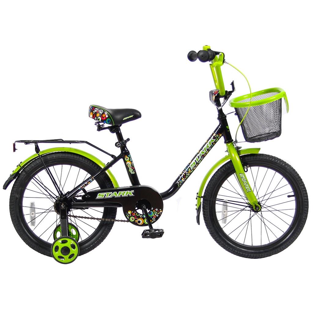 Двухколесный велосипед Lider Stark, диаметр колес 18 дюймов, черный/зеленыйВелосипеды детские<br>Двухколесный велосипед Lider Stark, диаметр колес 18 дюймов, черный/зеленый<br>