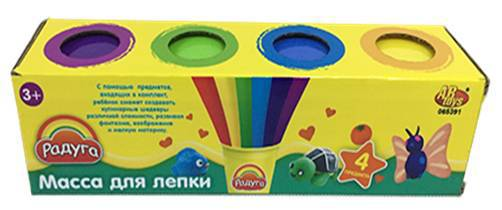 Масса для лепки, 4 разноцветные баночки, в коробкеНаборы для лепки<br>Масса для лепки, 4 разноцветные баночки, в коробке<br>