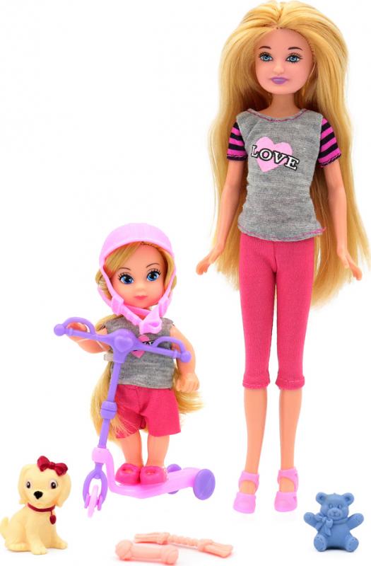 Купить Кукла Мила 23 см. с куклой Вики 12 см. на самокате и с собачкой, Simba