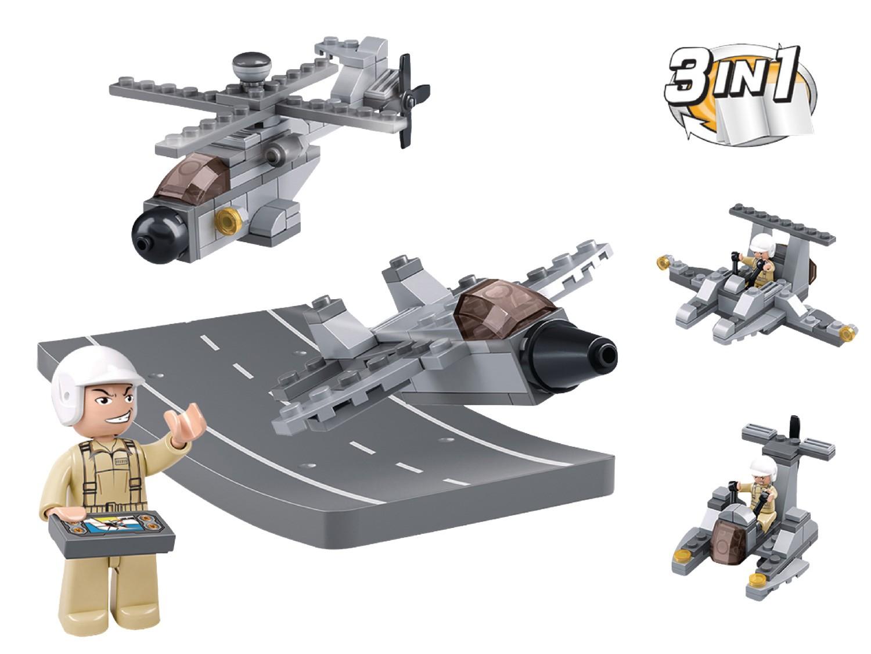 Конструктор – Армия: самолет и вертолет с фигуркой 104 детали.