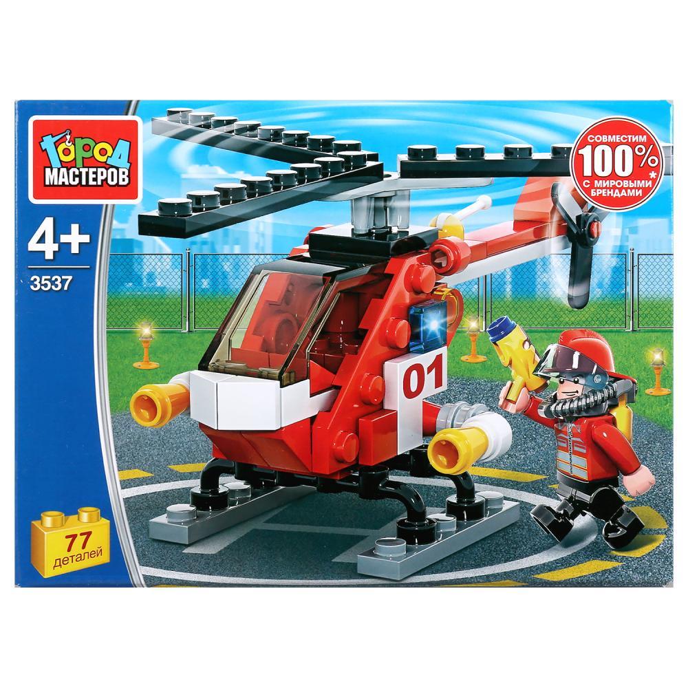 Конструктор Пожарный вертолет, с фигуркой, 77 деталей