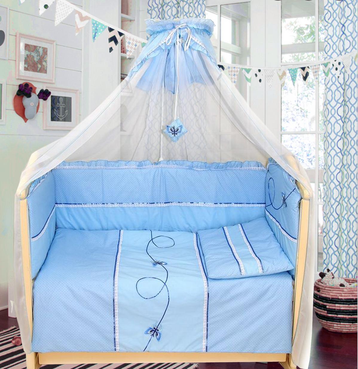 Комплект в кроватку – Бабочки, 7 предметовДетское постельное белье<br>Комплект в кроватку – Бабочки, 7 предметов<br>