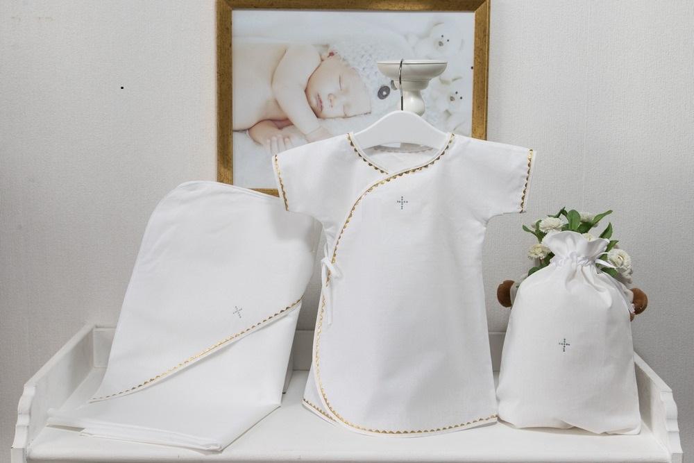 Крестильный набор для мальчика 6-12 месяцев – Павел, 3 предмета, белый/золотоКрестильные наборы<br>Крестильный набор для мальчика 6-12 месяцев – Павел, 3 предмета, белый/золото<br>