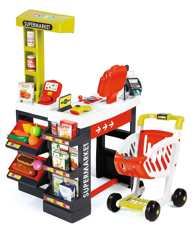 Супермаркет с тележкой, красныйДетская игрушка Касса. Магазин. Супермаркет<br>Супермаркет с тележкой, красный<br>