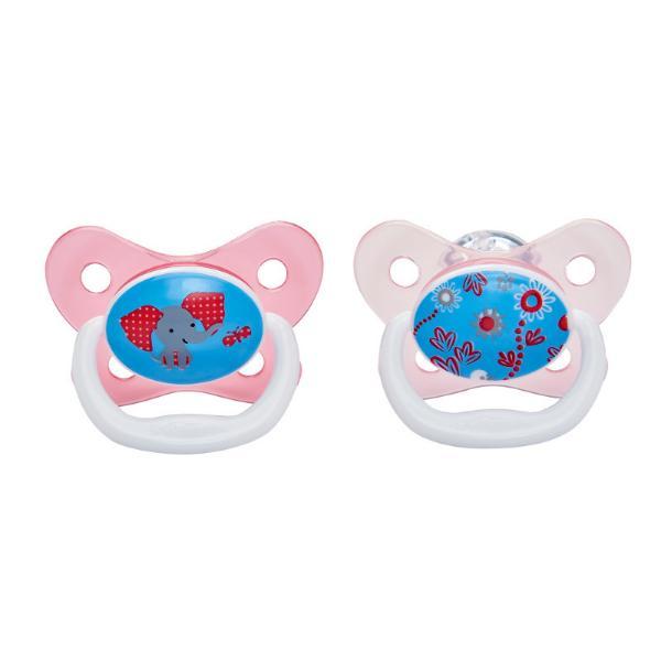 Пустышка PreVent Бабочка, от 6 до 12 месяцев, с крышкой, для девочек Dr. Brown's